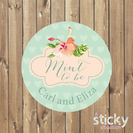 Personalised 'Mint to Be' Stickers - Tropical Flowers Design